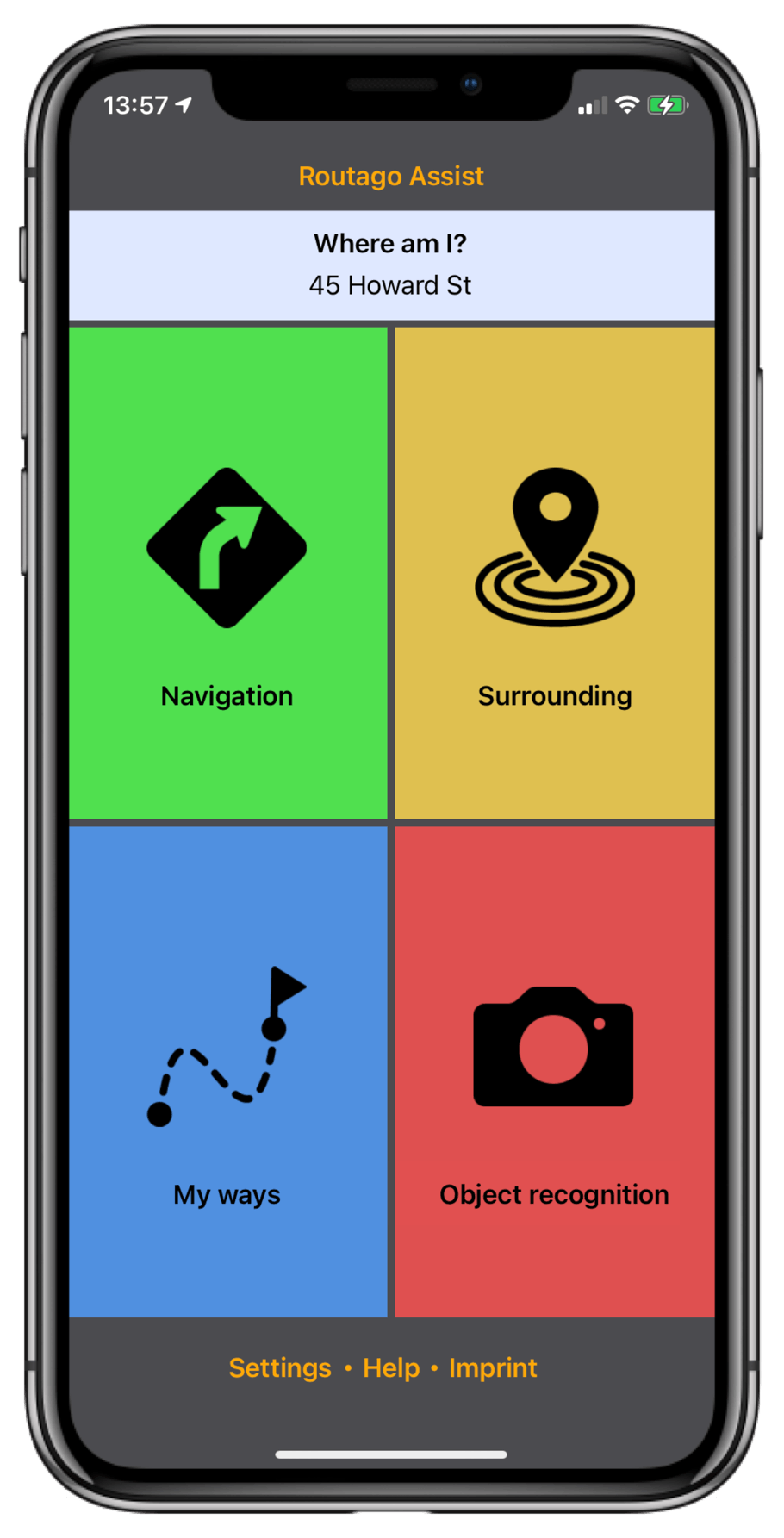 Start screen of Routago Assist with all five modules