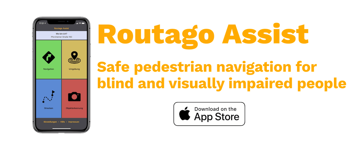 Cover picture Routago Assist Safe pedestrian navigation for blind and visually impaired people - Download on the App Store