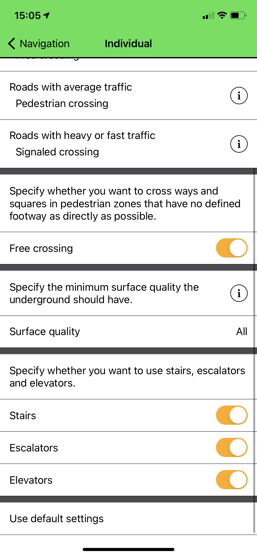 App screen with individualization settings part 2