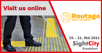 Text Routago at SightCity 2021 from May 19-21. Visit us online! Background is the official SightCity banner with the image of the feet of a man following yellow guidelines with a long cane.